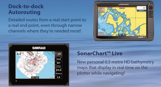 Goed nieuws, Sonarcharts Live, Dock to Dock autorouting en advanced map options komt ook op de Navico units!