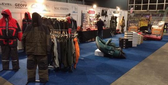 Mac Fishing met o.a. Geoff Anderson kleding op de Hengelsportbeurs in Utrecht.