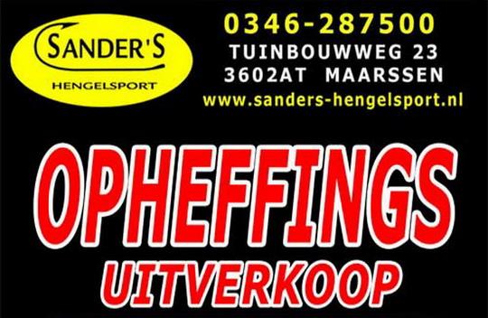 Opheffings uitverkoop bij Sanders Hengelsport met hoge kortingen.