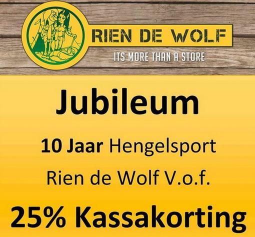 25% jubileum korting op alle hengelsport artikelen bij Rien de Wolf Hengelsport!