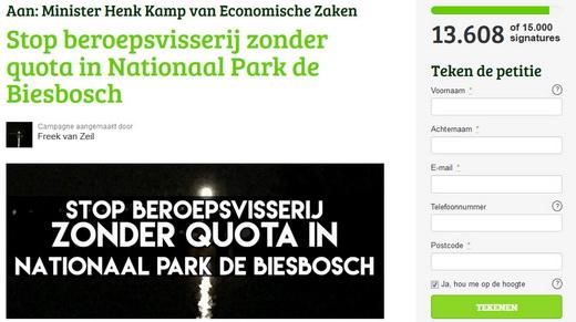 Teken de petitie. Stop de beroepsvisserij zonder quota in Nationaal Park de Biesbosch.