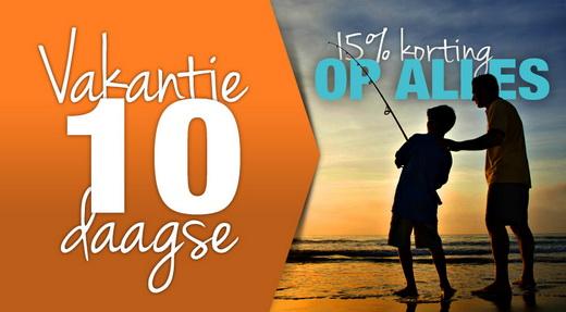 """15% korting tijdens de """"Vakantie 10-daagse"""" bij Zunnebeld Hengelsport."""