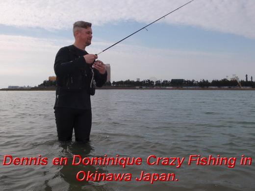 Dennis en Dominique Crazy Fishing in Okinawa Japan.