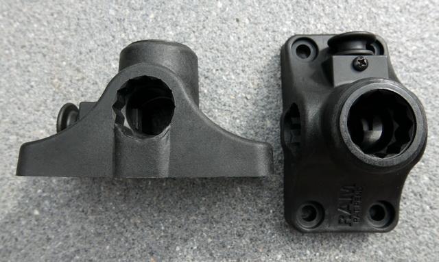 De base mount welke op je kajak word bevestigt, met daarin de vertanding voor de spline post verbinding en een lock om het geheel te vergrendelen/ontkoppelen.