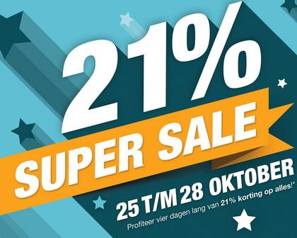 21% Korting tijdens de 'Super Sale Dagen'