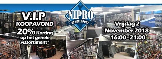 Vrijdag 2 november V.I.P. koopavond bij Nipro Hengelsport.