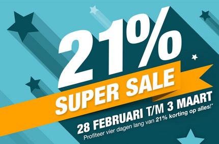 Super Sale Dagen – 21% korting op alles!