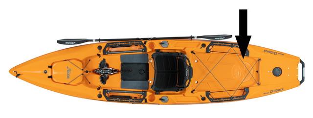 In de nieuwe Hobie Outback is het bij de aangegeven pijl mogelijk om een rond hatch luik te plaatsen.