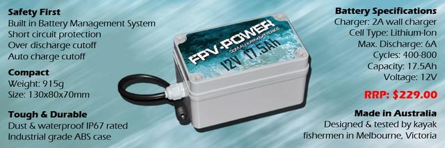 De FPV kayak lithium Ion accu met alle specs