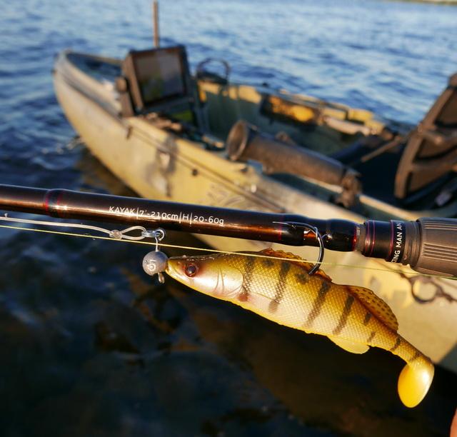 Voor softbaits van +/- 12 cm t/m 18 cm is dit een ideale hengel om deze werpend vanuit de kayak aan te bieden. Met hier de 12 cm ZanderTeez als voorbeeld.