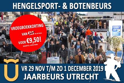 30 % Vroegboekkorting Hengelsport en Botenbeurs Utrecht.