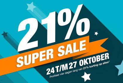 21% korting tijdens de Super Sale Dagen
