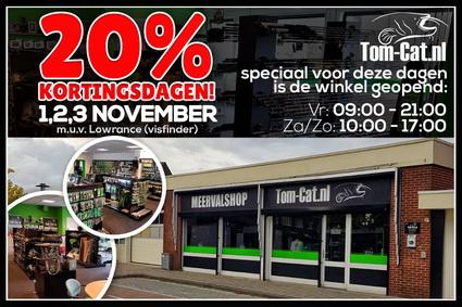 20% KORTING tijdens de 3 kortingsdagen bij Meerval webshop Tom-Cat.nl
