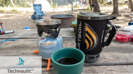 Maar eerst koffie met de producten van Jetboil.
