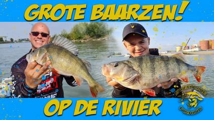 Rivier vissen op grote baars.